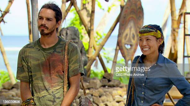 'Then There Were Five' Ozzy Lusth and Edna Ma of the Te Tuna tribe during the Redemption Island Duel during the fifteenth episode of SURVIVOR SOUTH...