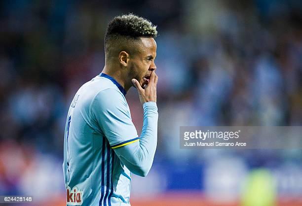 Theo Bongonda of RC Celta de Vigo reacts during the La Liga match between SD Eibar and RC Celta de Vigo at Ipurua Municipal Stadium on November 19...