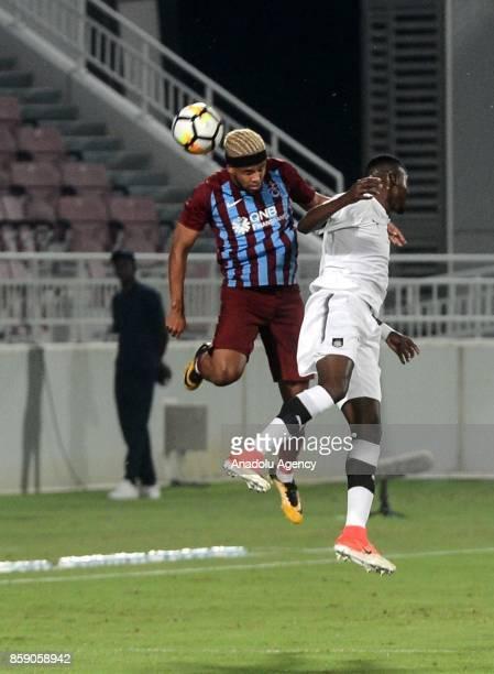 Theo Bongonda of Trabzonspor in action during the friendly soccer match between Trabzonspor and Al Sadd at Abdullah bin Khalifa Stadium in Doha Qatar...