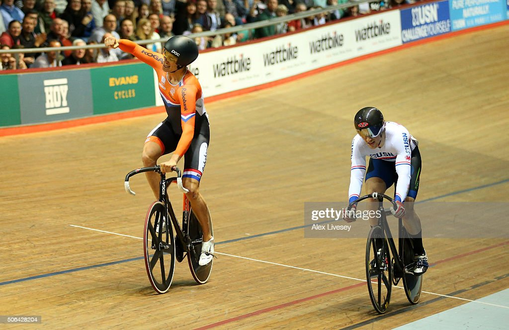 <a gi-track='captionPersonalityLinkClicked' href=/galleries/search?phrase=Theo+Bos+-+Cyclist&family=editorial&specificpeople=15369892 ng-click='$event.stopPropagation()'>Theo Bos</a> of Netherlands beats Lewis Oliva of Team USN and Great Britain to win the UCI Sprint Final during Round 6 of the Revolution Series at National Cycling Centre on January 23, 2016 in Manchester, England.
