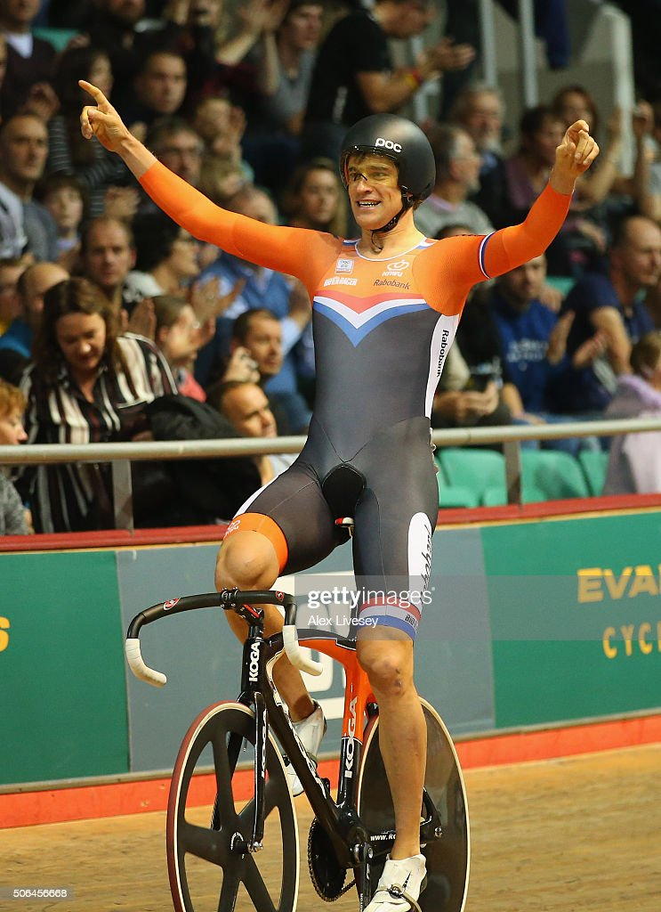 <a gi-track='captionPersonalityLinkClicked' href=/galleries/search?phrase=Theo+Bos+-+Cyclist&family=editorial&specificpeople=15369892 ng-click='$event.stopPropagation()'>Theo Bos</a> of Netherlands celebrates after winning the UCI Keirin Final during Round 6 of the Revolution Series at National Cycling Centre on January 23, 2016 in Manchester, England.