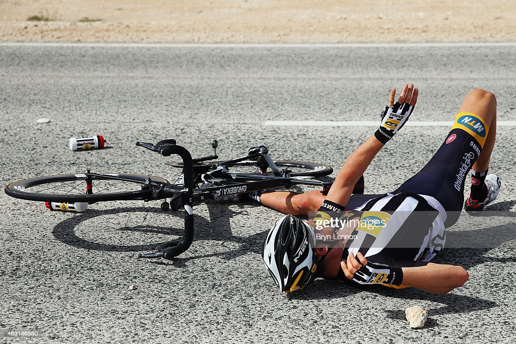 <a gi-track='captionPersonalityLinkClicked' href=/galleries/search?phrase=Theo+Bos+-+Cyclist&family=editorial&specificpeople=15369892 ng-click='$event.stopPropagation()'>Theo Bos</a> of The Netherlands and MTN-Qhubeka lies in the road after crashing during stage four of the 2015 Tour of Qatar, a 165km road stage from Al Thakhira to Mesaieed on February 11, 2015 in Mesaieed, Qatar.