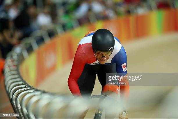Theo Bos of the Netherlands competes in the Men's Sprint Qualifying on Day 7 of the Rio 2016 Olympic Games at the Rio Olympic Velodrome on August 12...