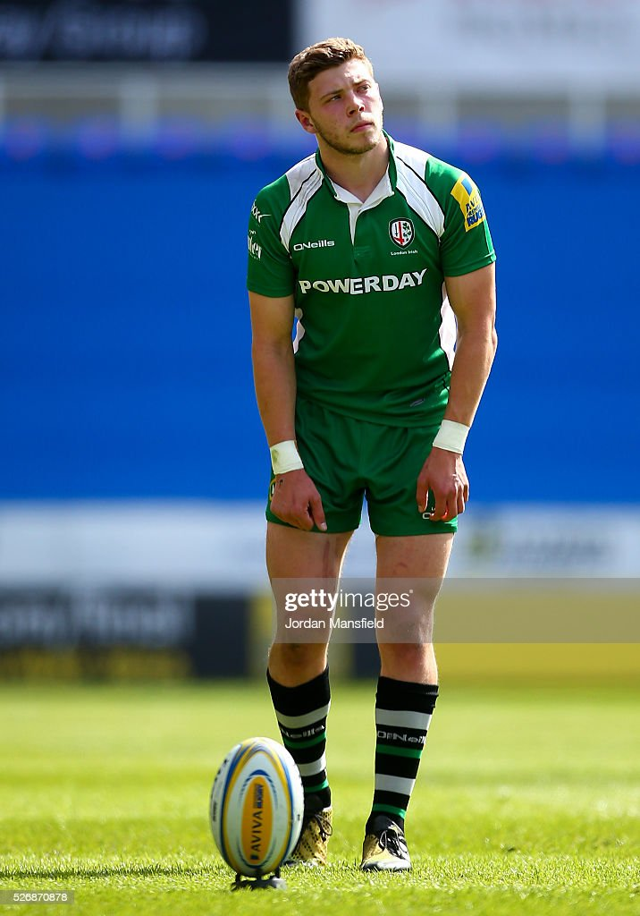 Theo Brophy Clews of London Irish prepares to kick during the Aviva Premiership match between London Irish and Harlequins at the Madejski Stadium on May 01, 2016 in Reading, England.
