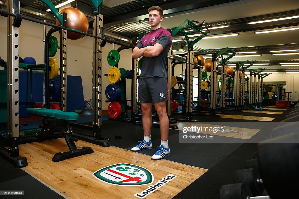 Theo Brophy-Clews of London Irish poses for the camera during the London Irish Media Session at Hazelwood Centre on May 4, 2016 in Sunbury, England.