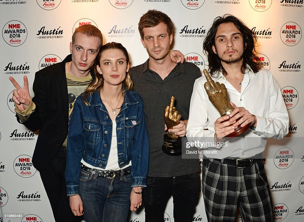 Theo Ellis Ellie Roswell Joff Oddie and Joel Amey of Wolf Alice pose with their awards for Best Track and Best Live Band in the Winners Room at the...