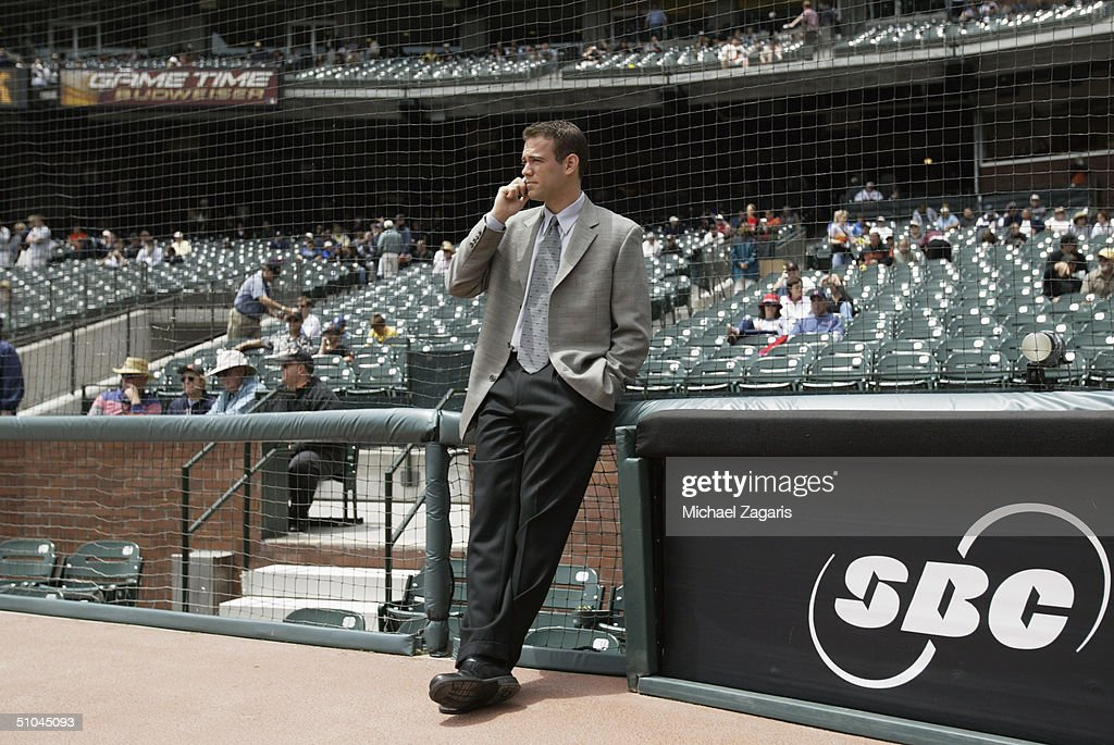 Theo Epstein of the Boston Red Sox talks before the MLB game against the San Francisco Giants at SBC Park on June 20, 2004 in San Francisco, California. The Giants defeated the Red Sox 4-0.