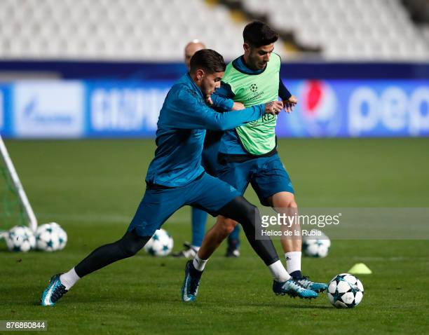 Theo Fernandez and Marco Asensio of Real Madrid warm up during the UEFA Champions League group H match between APOEL Nikosia and Real Madrid at GSP...