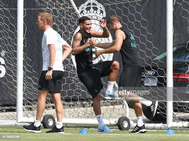 Theo Hernandez and Alvaro Morata of Real Madrid during training for Tour 2017 on the campus of UCLA July 13 in Los Angeles California