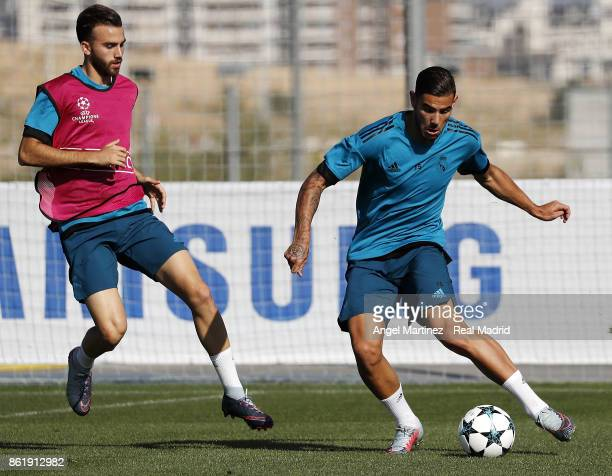 Theo Hernandez and Borja Mayoral of Real Madrid in action during a training session at Valdebebas training ground on October 16 2017 in Madrid Spain