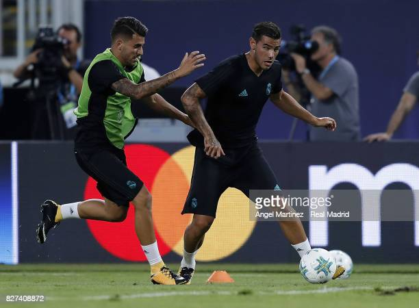 Theo Hernandez and Dani Ceballos of Real Madrid in action during a training session at Philip II Arena on August 7 2017 in Skopje Macedonia