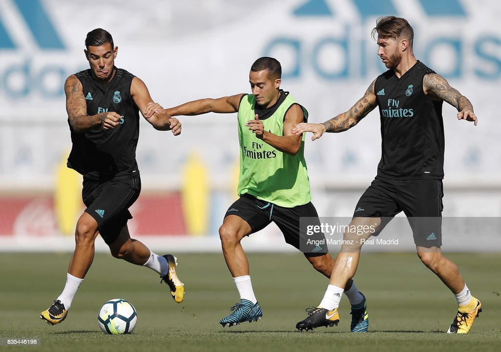 Theo Hernandez, Lucas Vazquez and Sergio Ramos of Real Madrid in action during a training session at Valdebebas training ground on August 19, 2017 in Madrid, Spain.