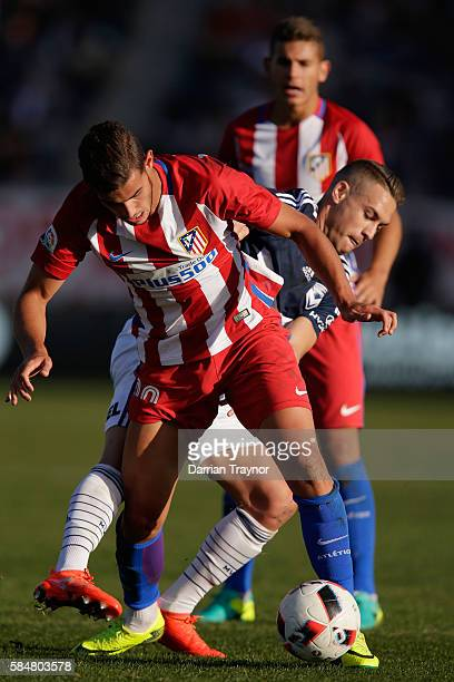 Theo Hernandez of Atletico Madrid kicks the ball during the match between Melbourne Victory and Atletico de Madrid at Simonds Stadium on July 31 2016...