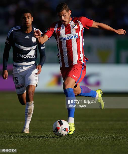 Theo Hernandez of Atletico Madrid runs with the ball during the match between Melbourne Victory and Atletico de Madrid at Simonds Stadium on July 31...