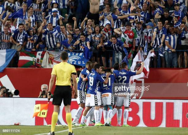 Theo Hernandez of Deportivo Alaves celebrates his goal during the Copa Del Rey Final between FC Barcelona and Deportivo Alaves at Vicente Calderon...