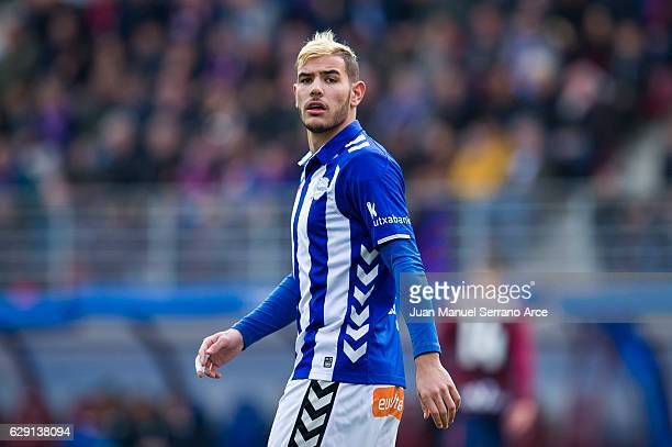 Theo Hernandez of Deportivo Alaves reacts during the La Liga match between SD Eibar and Deportivo Alaves at Ipurua Municipal Stadium on December 11...