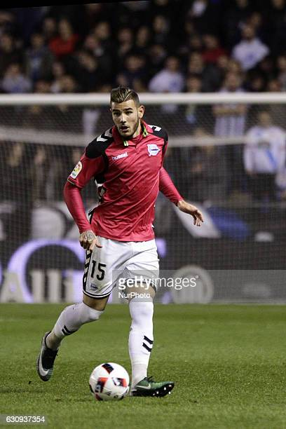 Theo Hernandez of Deportivo Alaves SAD controls the ball during the spanish 1/8 Copa del Rey match between Real Club Deportivo de La Coruna vs...