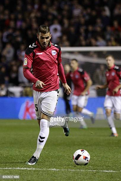 Theo Hernandez of Deportivo Alaves SAD during the spanish 1/8 Copa del Rey match between Real Club Deportivo de La Coruna vs Deportivo Alaves SAD at...