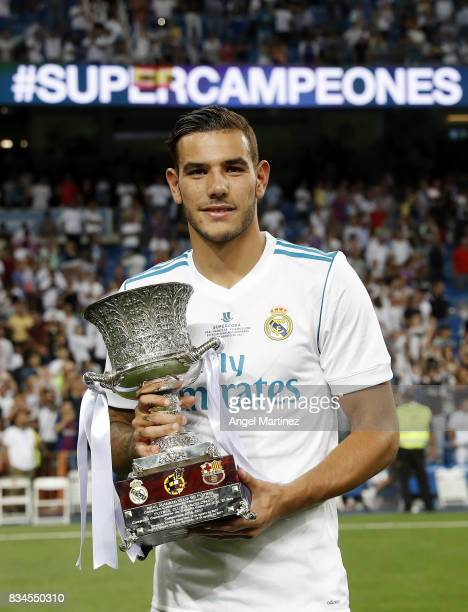 Theo Hernandez of Real Madrid celebrates with the trophy after the Supercopa de Espana Final second leg match between Real Madrid and FC Barcelona at...