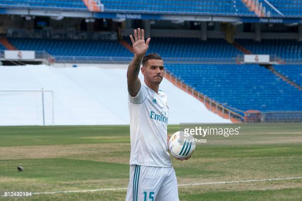 Theo Hernandez of Real Madrid during his official presentation at Estadio Santiago Bernabeu on July 10 2017 in Madrid Spain