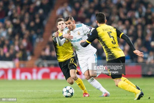 Theo Hernandez of Real Madrid fights for the ball with Borussia Dortmund Midfielder Christian Pulisic during the Europe Champions League 201718 match...