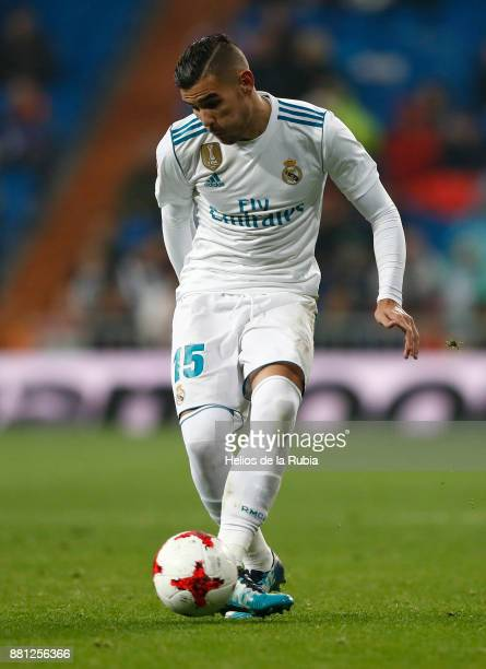 Theo Hernandez of Real Madrid in action during the Copa del Rey round of 32 second leg match between Real Madrid CF and Fuenlabrada at Estadio...