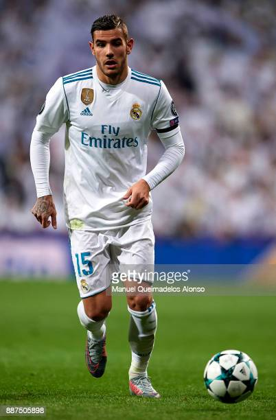 Theo Hernandez of Real Madrid in action during the UEFA Champions League group H match between Real Madrid and Borussia Dortmund at Estadio Santiago...