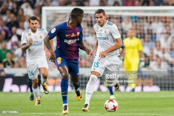 MADRID SPAIN AUGUST 16 Theo Hernandez of Real Madrid in action during their Supercopa de Espana Final 2nd Leg match between Real Madrid and FC...