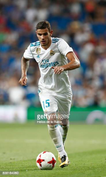 Theo Hernandez of Real Madrid in actions during the match Trofeo Santiago Bernabeu between Real Madrid CF and Fiorentina at Santiago Bernabeu Stadium...