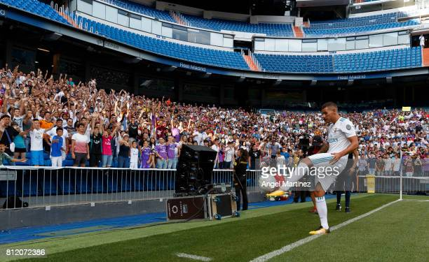 Theo Hernandez of Real Madrid plays with the ball during his official presentation at Estadio Santiago Bernabeu on July 10 2017 in Madrid Spain