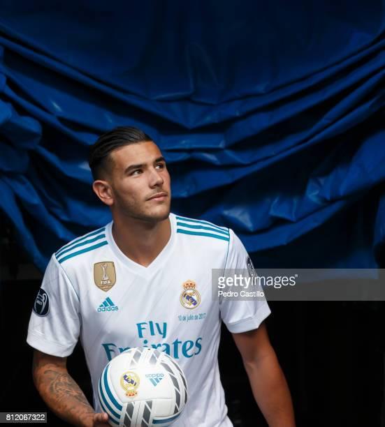 Theo Hernandez of Real Madrid poses during his official presentation at Estadio Santiago Bernabeu on July 10 2017 in Madrid Spain