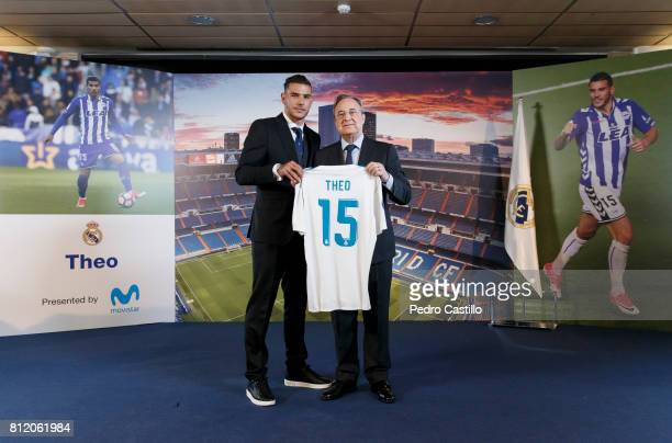 Theo Hernandez of Real Madrid poses with Real Madrid's president Florentino Perez during his official presentation at Estadio Santiago Bernabeu on...