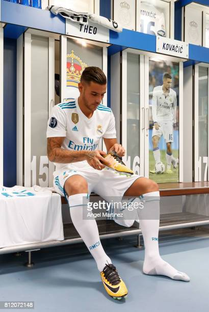 Theo Hernandez of Real Madrid puts on his boots during his official presentation at Estadio Santiago Bernabeu on July 10 2017 in Madrid Spain