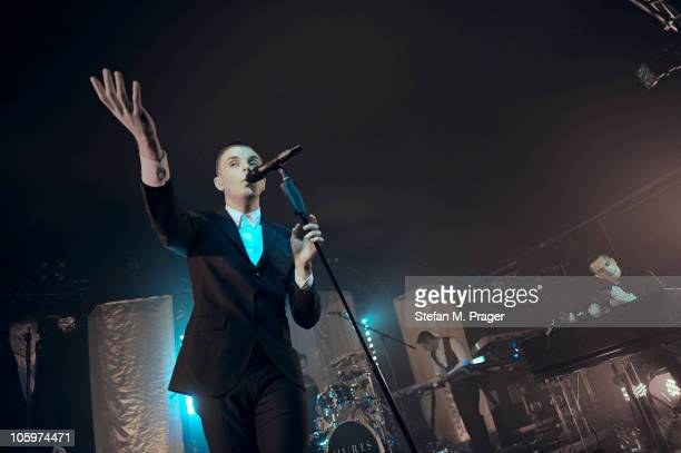 Theo Hutchcraft and Adam Anderson of Hurts perform on stage at Theaterfabrik on October 22 2010 in Munich Germany