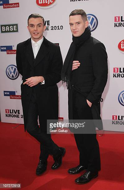 Theo Hutchcraft and Adam Anderson of the band Hurts attend the '1Live Krone' Music Awards at the Jahrhunderthalle on December 2 2010 in Bochum Germany