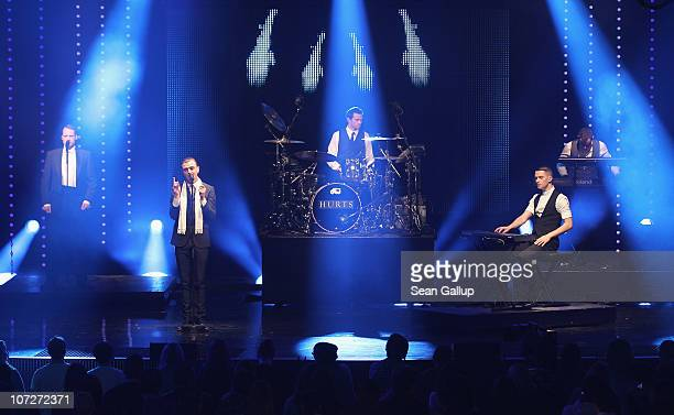 Theo Hutchcraft and Adam Anderson of the band Hurts perform at the '1Live Krone' Music Awards at the Jahrhunderthalle on December 2 2010 in Bochum...