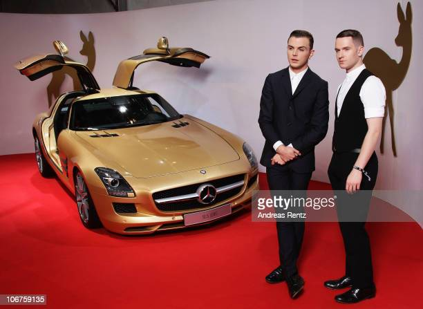Theo Hutchcraft and Adam Anderson of the Hurts arrive for the Bambi 2010 Award at Filmpark Babelsberg on November 11 2010 in Potsdam Germany