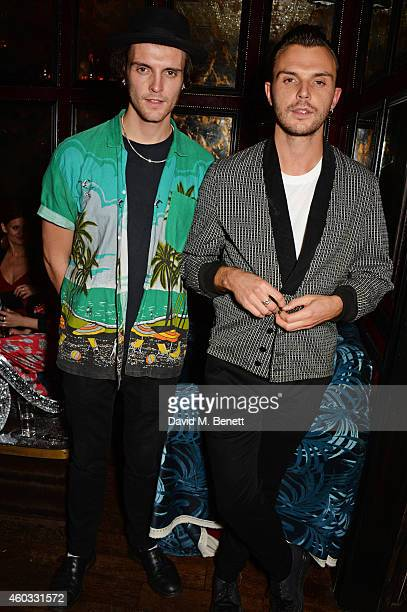 Theo Hutchcraft and brother Jak Hutchcraft attend the Glam Rock Christmas party to celebrate the collaboration between House of Hackney and Terry De...