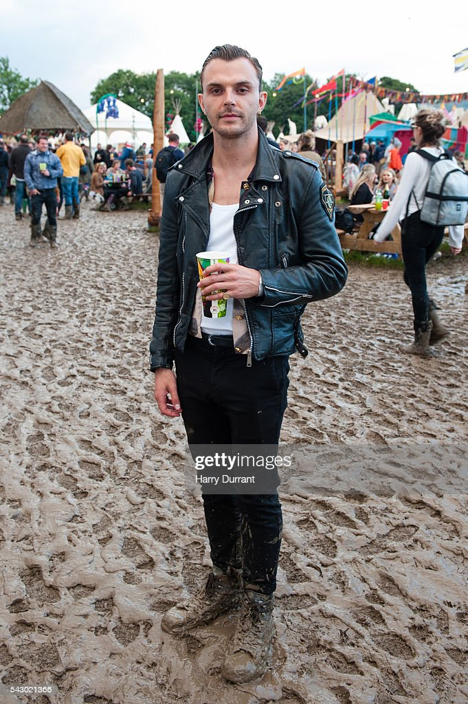 Theo Hutchcraft from Hurts attends the Glastonbury Festival 2016 at Worthy Farm, Pilton on June 25, 2016 in Glastonbury, England.