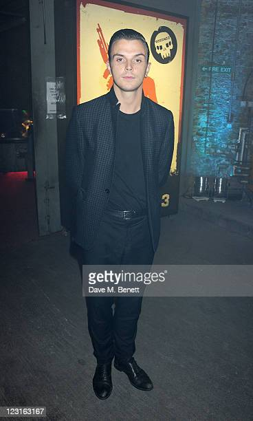Theo Hutchcraft of Hurts attends the launch of Playstation's 'Resistance 3' game featuring a special walk of terror event titled 'and darkness...