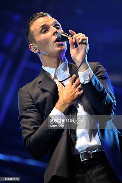 Theo Hutchcraft of Hurts performs at Somerset House on July 14 2011 in London England