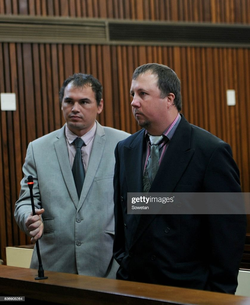 Theo Jackson and Willem Oosthuizen during their appearance at the at the High Court sitting at Middelburg Magistrates Court for charges of assault and attempted murder of Victor Mlotshwa on August 21, 2017 in Middelburg, South Africa. Oosthuizen and his co-accused Jackson, last year allegedly forced Mlotshwa into a coffin and threatened to set it alight.