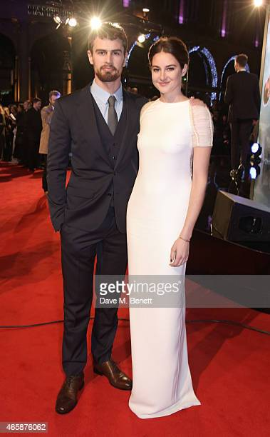 Theo James and Shailene Woodley attend the World Premiere of 'Insurgent' at Odeon Leicester Square on March 11 2015 in London England