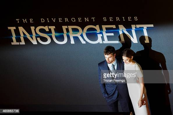 Theo James and Shallene Woodley attend the World Premiere of 'Insurgent' at Odeon Leicester Square on March 11 2015 in London England