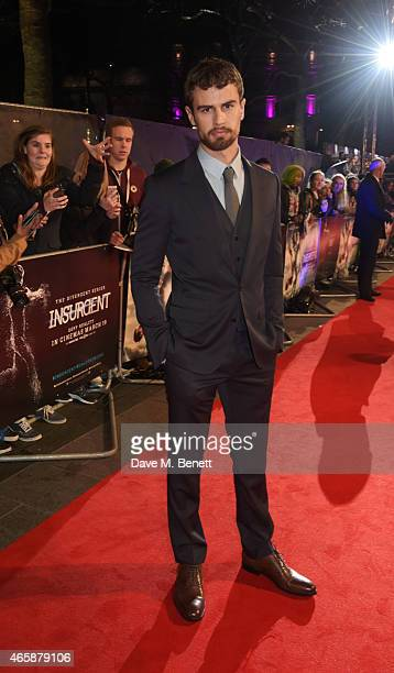 Theo James attends the World Premiere of 'Insurgent' at Odeon Leicester Square on March 11 2015 in London England