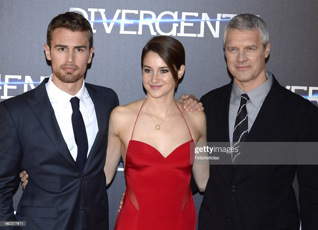 Theo James Shailene Woodley and Neil Burger attend the 'Divergent' premiere at Callao Cinema on April 3 2014 in Madrid Spain
