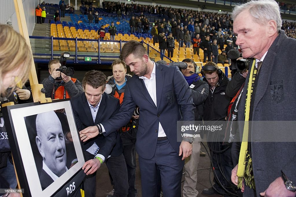 Theo Janssen of Vitesse, board member Jan Snellenburg of Vitesse memorial of Theo Bos during the Dutch Eredivisie match between Vitesse Arnhem and FC Utrecht at the Gelredome on march 01, 2013 in Arnhem, The Netherlands