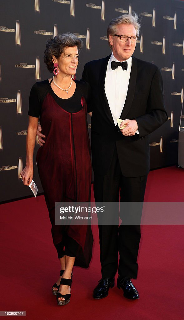 Theo Koll and Franziska zu Castell-Castell arrive at the red carpet of the 'Deutscher Fernsehpreis 2013' at Coloneum on October 2, 2013 in Cologne, Germany.