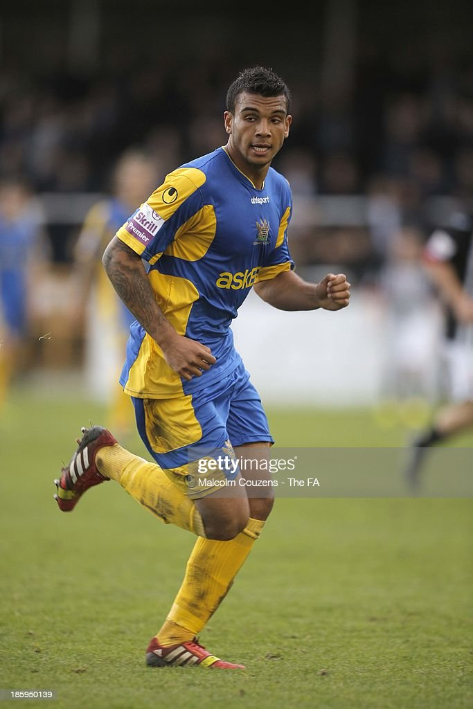 Theo Lewis of Salisbury in action during the FA Cup fourth qualifying round match between Bath City and Salisbury at Twerton Park on October 26, 2013 in Bath, England.