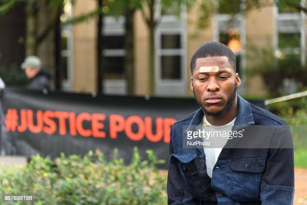 Theo Luhaka during a rally against police violence organized by the Justice for Theo group outside the courthouse of Bobigny near Paris on October 28...